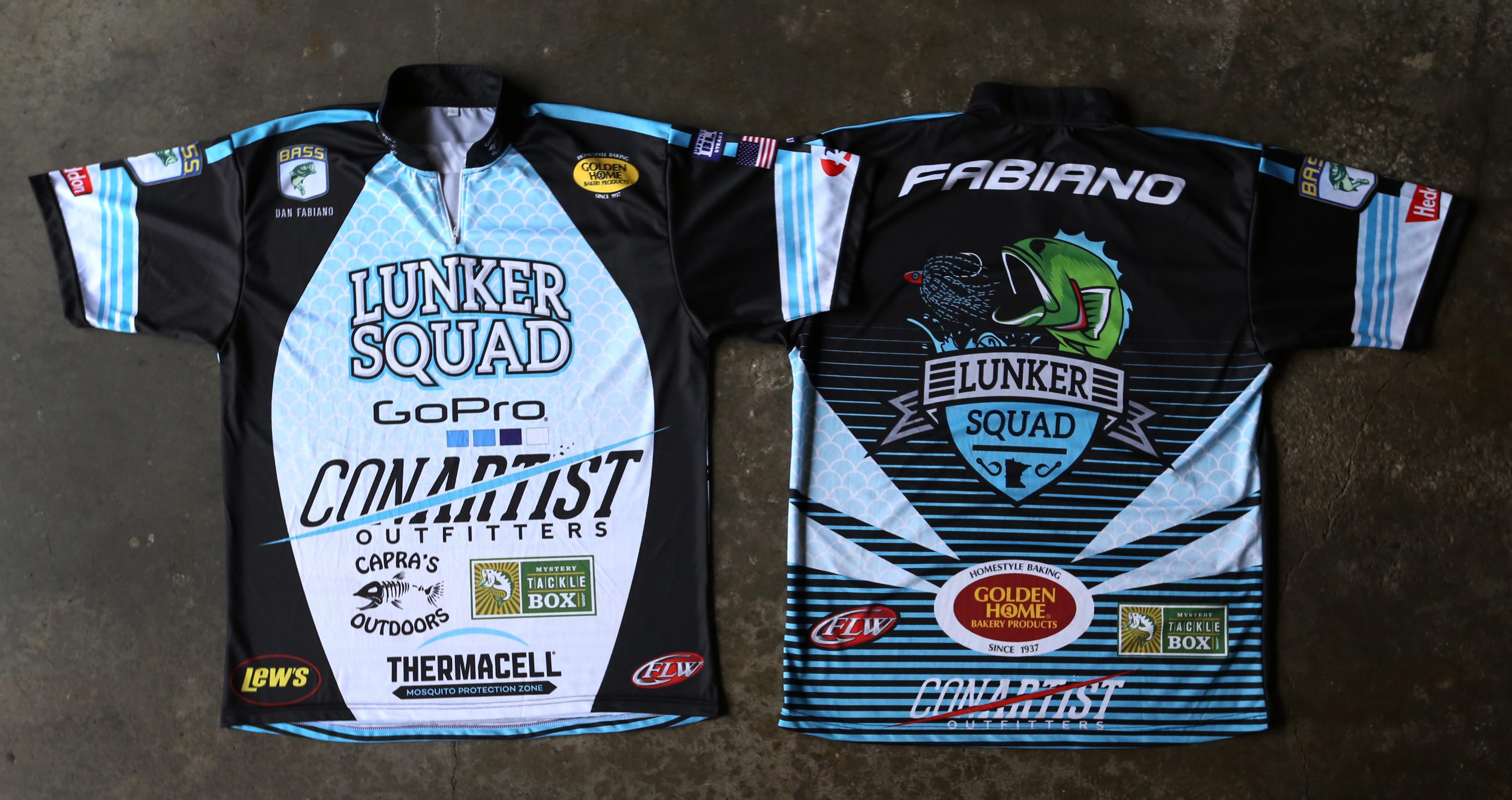 Design lunker squad bassmasters for Fishing sponsor shirts